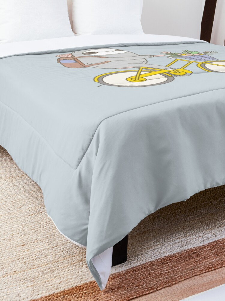 Alternate view of Biking Sloth  Comforter