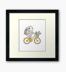 Lámina enmarcada Biking Sloth