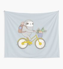 Biking Sloth  Wall Tapestry