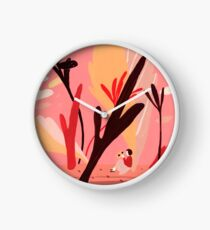 Colorful Landscape with a Girl Clock