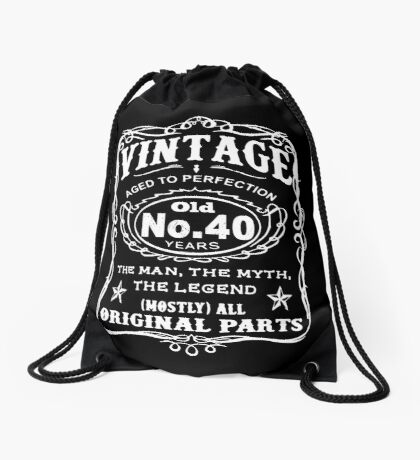 Vintage Aged To Perfection 40 Years Old Drawstring Bag