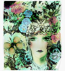 ART DECO FLAPPER COLLAGE BUTTERFLIES, BIRDS  AND ROSES  Poster