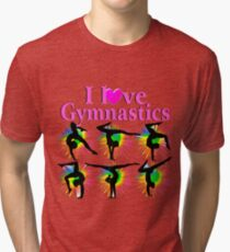 PRETTY I LOVE GYMNASTICS DESIGN Tri-blend T-Shirt