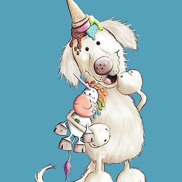 Golden Retriever With Ice Cream And Unicorn Toy by modartis