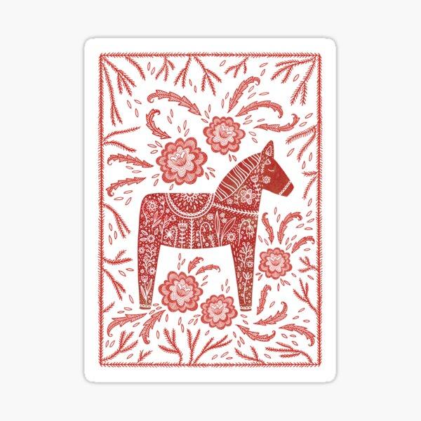 Swedish Dala Horse Folk Art Sticker