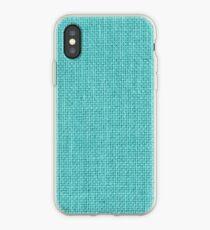 Natural Woven Aqua Blue Burlap Sack Cloth iPhone Case