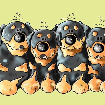 Four Cute Rottweiler Puppies - Dog - Dogs - Gift - Cartoon by modartis
