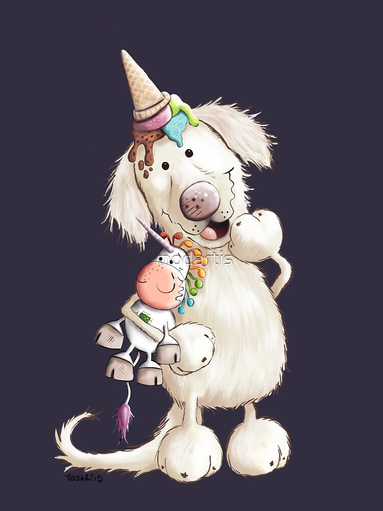 Golden Retriever With Ice Cream And Unicorn Toy by modartis