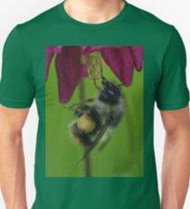 Bumble Bee With Massive Pollen Sacks On A Columbine T-Shirt