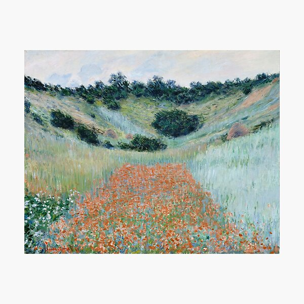 HD. Poppy Field in a Hollow near Giverny, by Claude Monet. HIGH DEFINITION  Photographic Print
