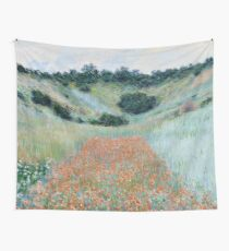 HD. Poppy Field in a Hollow near Giverny, by Claude Monet. HIGH DEFINITION  Wall Tapestry