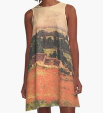 HD. Garden at Giverny, by Claude Monet. HIGH DEFINITION  A-Line Dress