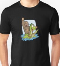 Bigfoot Riding Nessie Big Foot and Loch Ness Monster Unisex T-Shirt