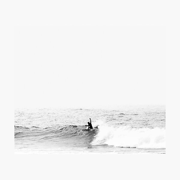 Surfer on Wave in Open Ocean Photographic Print