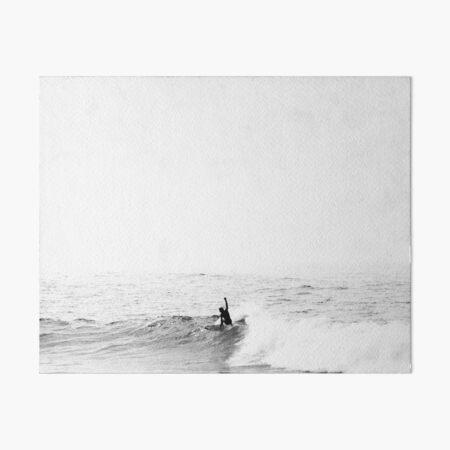 Surfer on Wave in Open Ocean Art Board Print