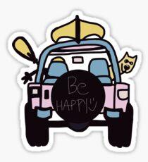 be happy jeep pink  Sticker
