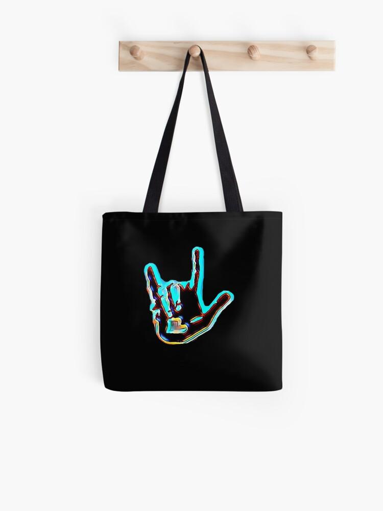 deaf and hard of hearing blackredorange strap Tote bag Chat in sign language