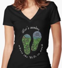 Let's Wander - Camping Women's Fitted V-Neck T-Shirt