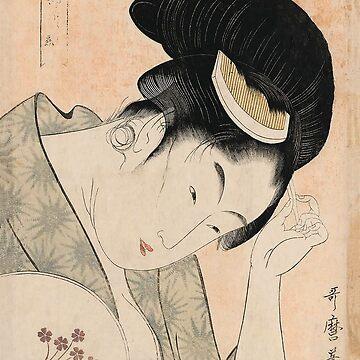 Vintage Japanese Ukiyo-e Woodblock Print Woman Portrait I by VintageArchive