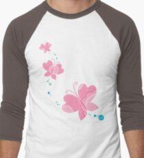 FLUTTERBY BUTTERFLY :: pink + aqua + foam Men's Baseball ¾ T-Shirt