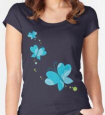 FLUTTERBY BUTTERFLY :: aqua + foam + lime Women's Fitted Scoop T-Shirt