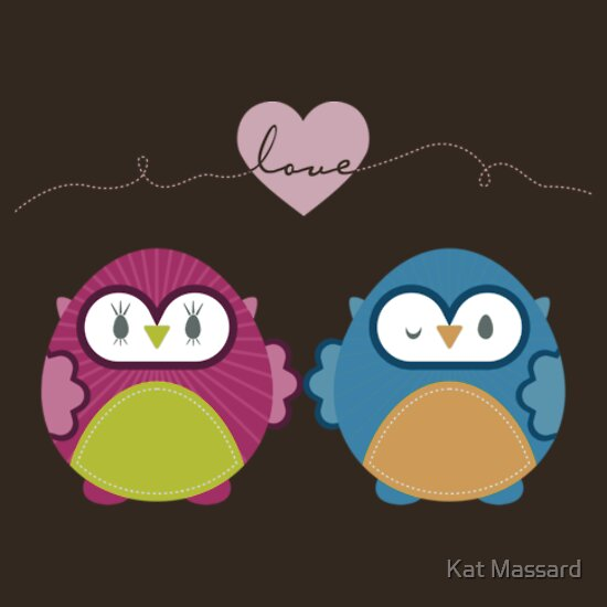 TShirtGifter presents: OWLS IN LOVE :: bright