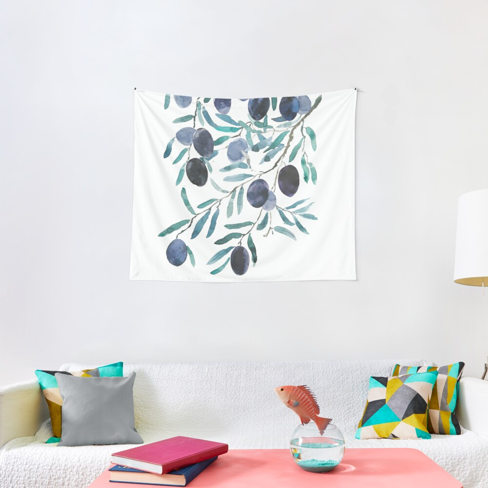 black olive watercolor  Tapestry