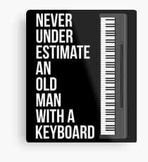 Never Underestimate An Old Man With A Keyboard T-Shirt for Men Metal Print