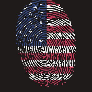 4th of July Shirts All American Finger Print DNA US Flag Tee by arnaldog