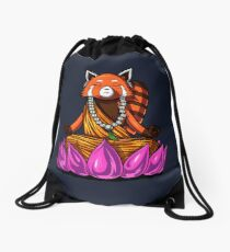Red Panda Bear Buddha Zen Yoga Meditation Lotus Drawstring Bag