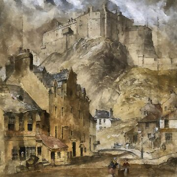"A digital painting of ""Edinburgh Castle from the Foot of the Vennel, 1845""  by ZipaC"