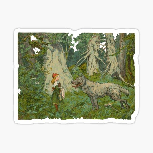 Little Red Riding Hood classic illustration Sticker