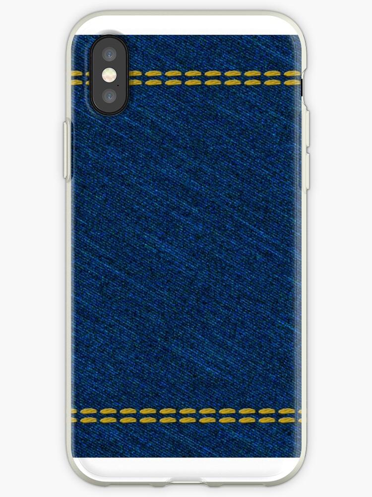 Classic denim blue jeans fabric with yellow stitches  by Mike Suszycki