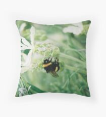 Bee on White Lavender Floor Pillow