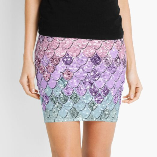 Mermaid Scales with Unicorn Girls Glitter #1 #shiny #pastel #decor #art Mini Skirt