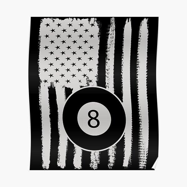 Billiards American Flag 8 Ball USA Apparel Poster