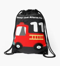 Fire Truck Sound The Alarm I'm 11! Drawstring Bag