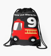Fire Truck Sound The Alarm I'm 9! Drawstring Bag