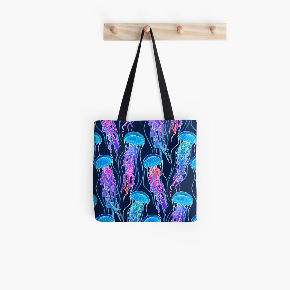Luminescent Rainbow Jellyfish on Navy Blue Tote Bag