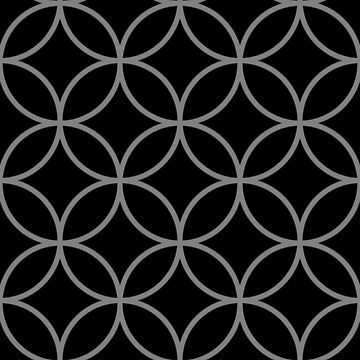 Interlinking Circles Pattern Gray on Black by NataliePaskell