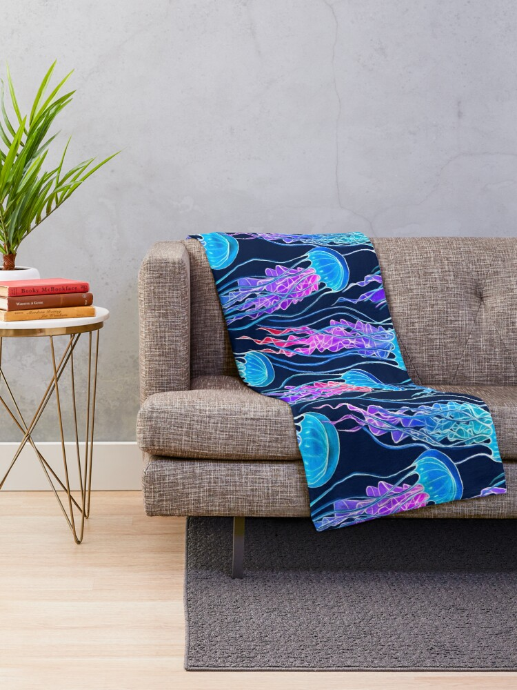 Alternate view of Luminescent Rainbow Jellyfish on Navy Blue Throw Blanket