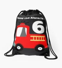 Fire Truck Sound The Alarm I'm 6! Drawstring Bag