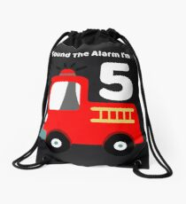 Fire Truck Sound The Alarm I'm 5! Drawstring Bag