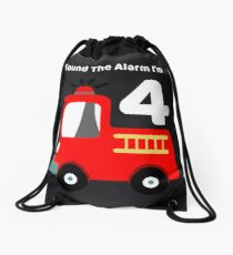 Fire Truck Sound The Alarm I'm 4! Drawstring Bag