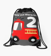 Fire Truck Sound The Alarm I'm 2! Drawstring Bag