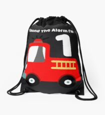 Fire Truck Sound The Alarm I'm 1! Drawstring Bag
