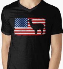 Lama USA 4th Of July T-Shirt Men's V-Neck T-Shirt