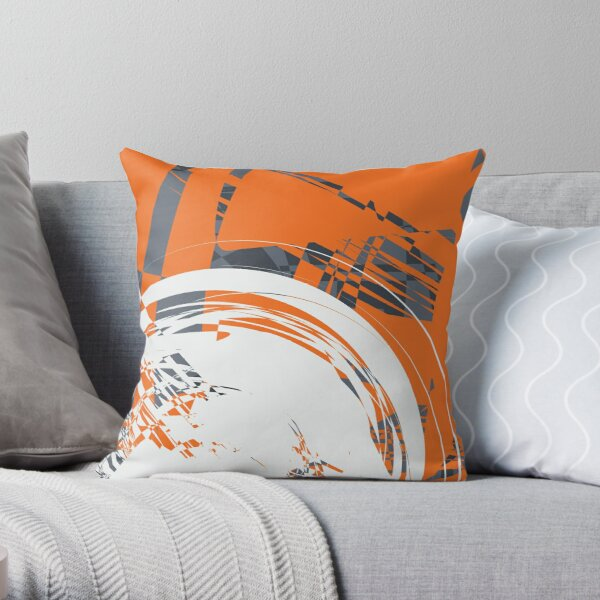 Orange Grey Throw Pillow