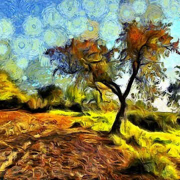 A digital painting of a Lone Tree at the Side of a Muddy Track by ZipaC