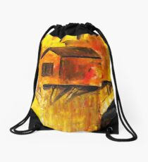 The small house on the Bridge Drawstring Bag